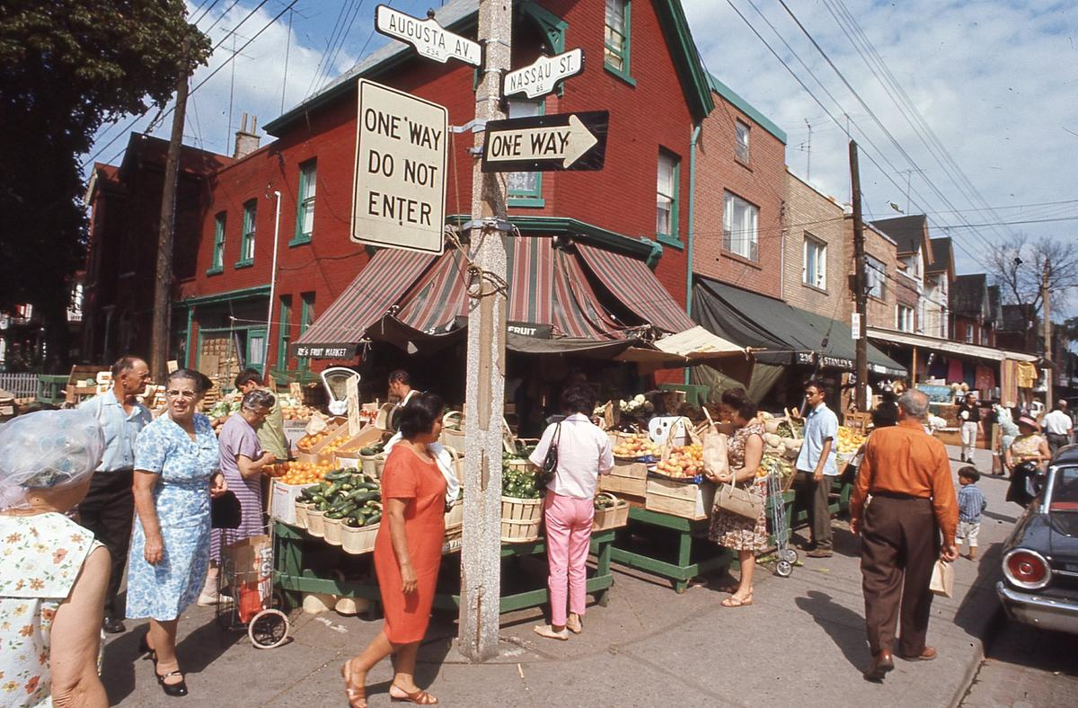 Street shopping in Kensington Market in the summer of 1969. Even then there was an ongoing debate about the area's future and how its unique nature could be preserved in the face of development pressures.